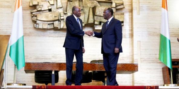 Alassane Ouattara, Président de la République de Côte d'Ivoire en compagnie d'Amadou Gon Coulibaly.