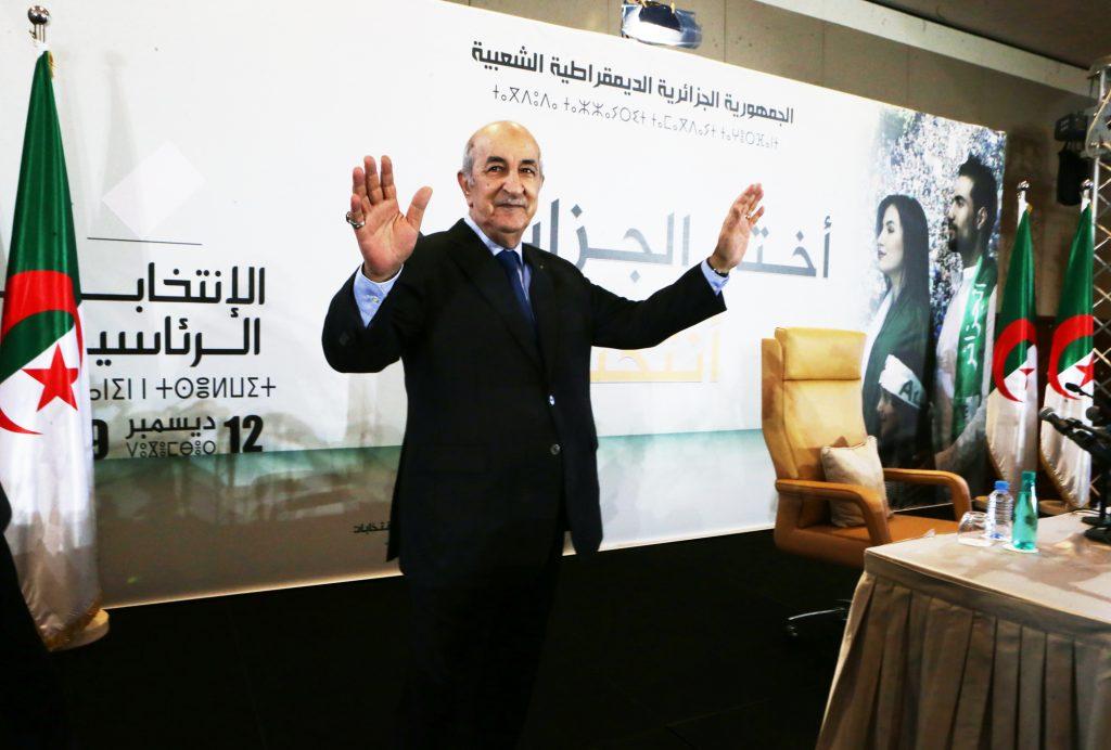 Abdelmadjid Tebboune lors d'une conférence de presse après sa victoire à la présidentielle, le 13décembre, à Alger.
