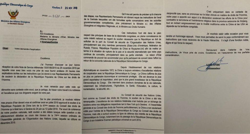 Courrier du secrétaire général du ministère des Affaires étrangères concernant la position de la RDC sur le dossier Ouïghour à l'ONU (26 novembre).