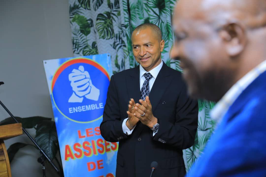"""Moïse Katumbi, lors de la création de son parti politique """"Ensemble pour la République"""", le 17 décembre 2019 à Lubumbashi."""