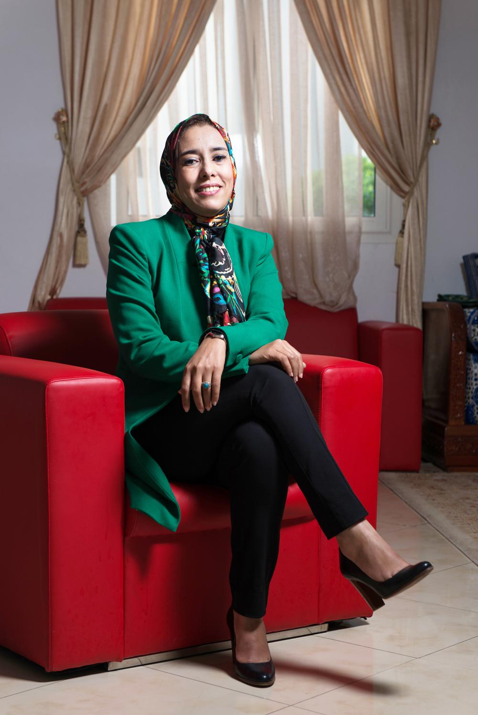 Amina Mae el Ainine, Maroc. Députée du parti politique PJD. Photographiée lors du congrès de la centrale syndicale UNTM.