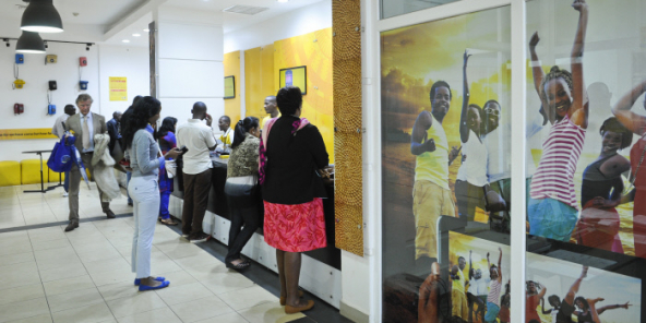 Une boutique MTN dans l'Union Trade Center de Kigali.