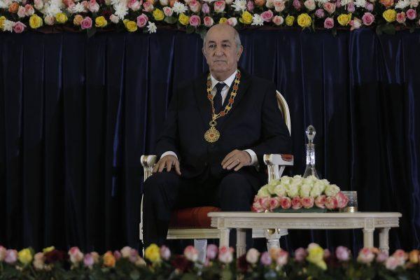 Le nouveau président algérien Abdelmadjib Tebboune lors de la cérémonie d'inauguration au palais présidentiel , le 12 décembre 2019.