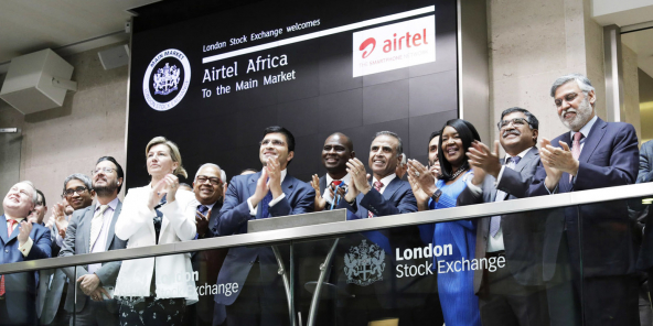 Introduction d'Airtel Africa à la Bourse de Londres, le 28 juin 2019.