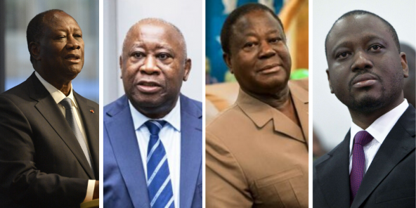 Alassane Ouattara, Laurent Gbagbo, Henri Konan Bédié et Guillaume Soro.
