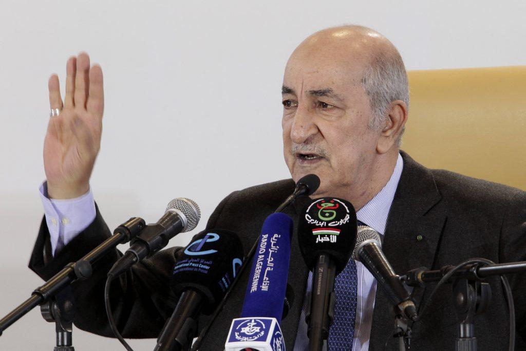Le président Abdelmadjid Tebboune, lors d'une conférence de presse, en décembre 2019.