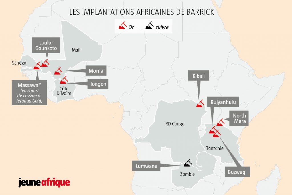 Les implantations africaines de Barrick
