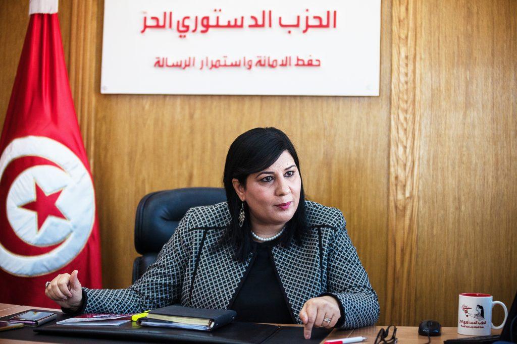 Abir Moussi, présidente du Parti destourien libre et ancienne membre du RCD (parti de Ben Ali).