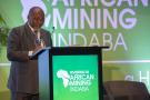 e ministre sud-africain des Ressources minérales et de l'Énergie, Gwede Mantashe, à la conférence Mining Indaba, au Cap, le 2 février 2020.