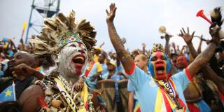 Des supporteurs congolais laissent éclater leur joie lors de la finale du CHAN qui opposait la RD Congo au Mali le dimanche 8 février 2016.