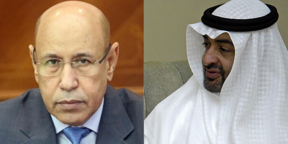 Le président mauritanien Mohamed Ould El-Ghazaouani et le prince émirati Mohammed ben Zayed.