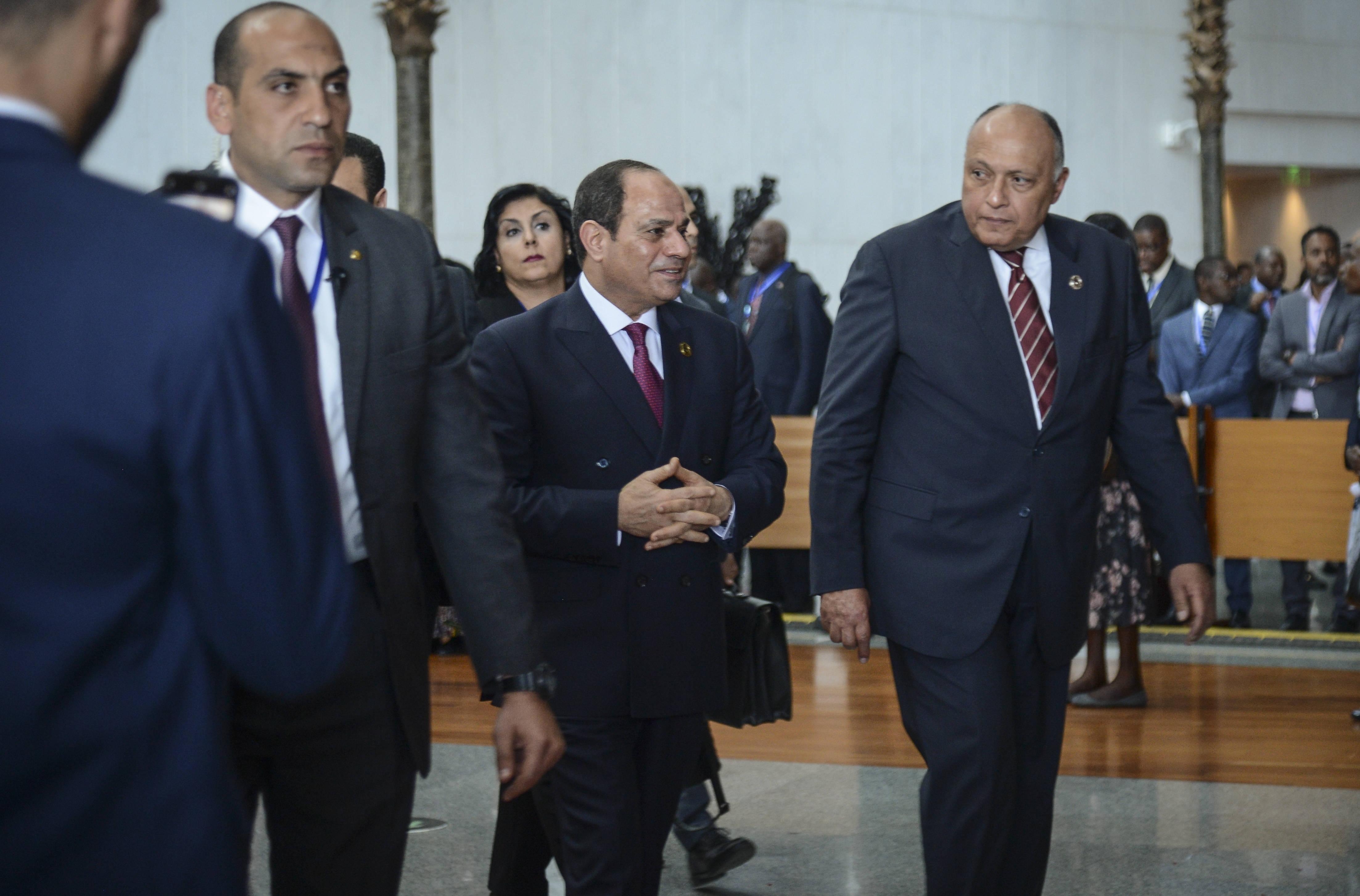 Le président égyptien Abdel Fattah al-Sissi arrive au sommet de l'Union africaine à Addis-Abeba, le 9 février 2020.