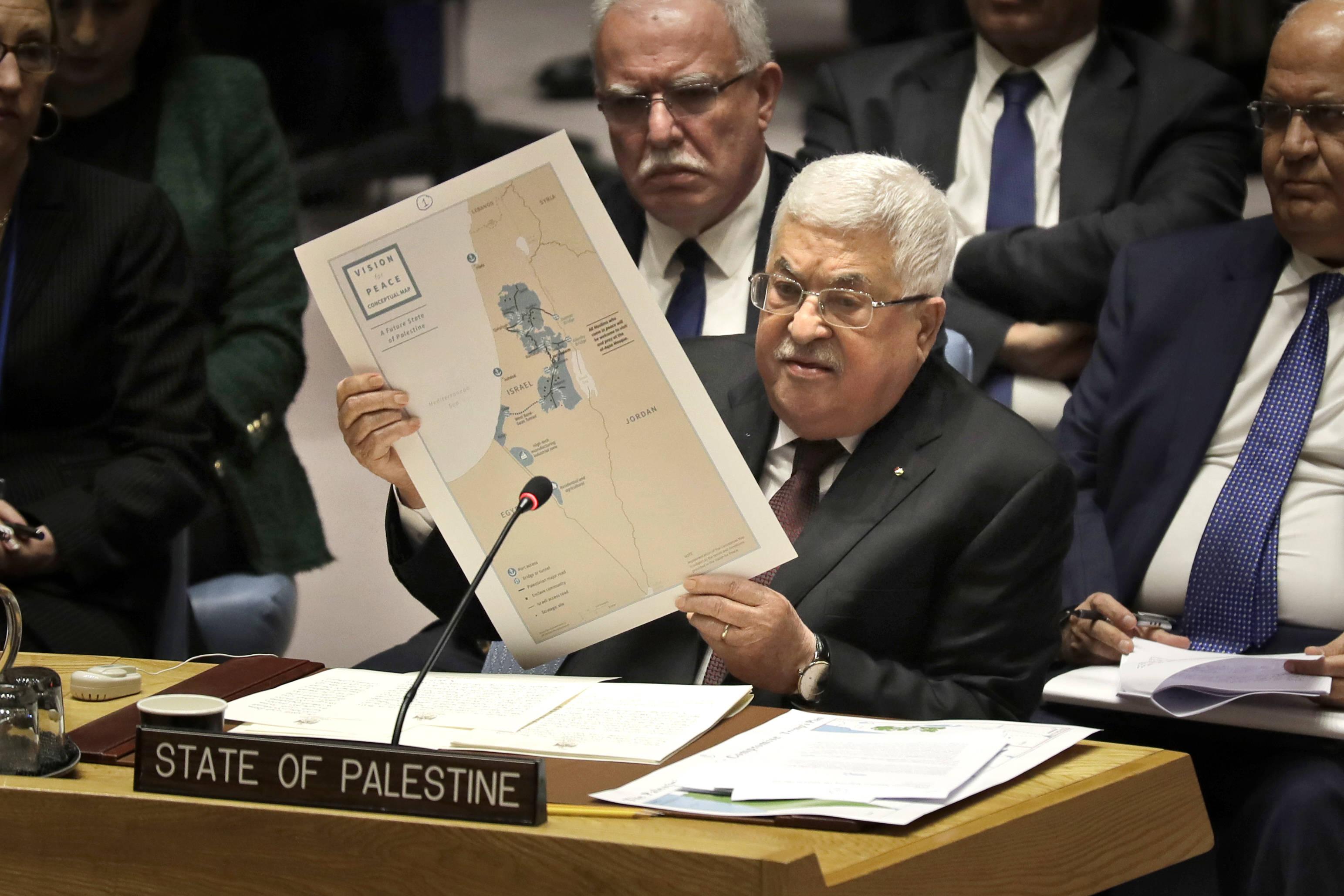 Le président palestinien Mahmoud Abbas lors d'une réunion au Conseil de sécurité de l'ONU, le 11 février 2020.