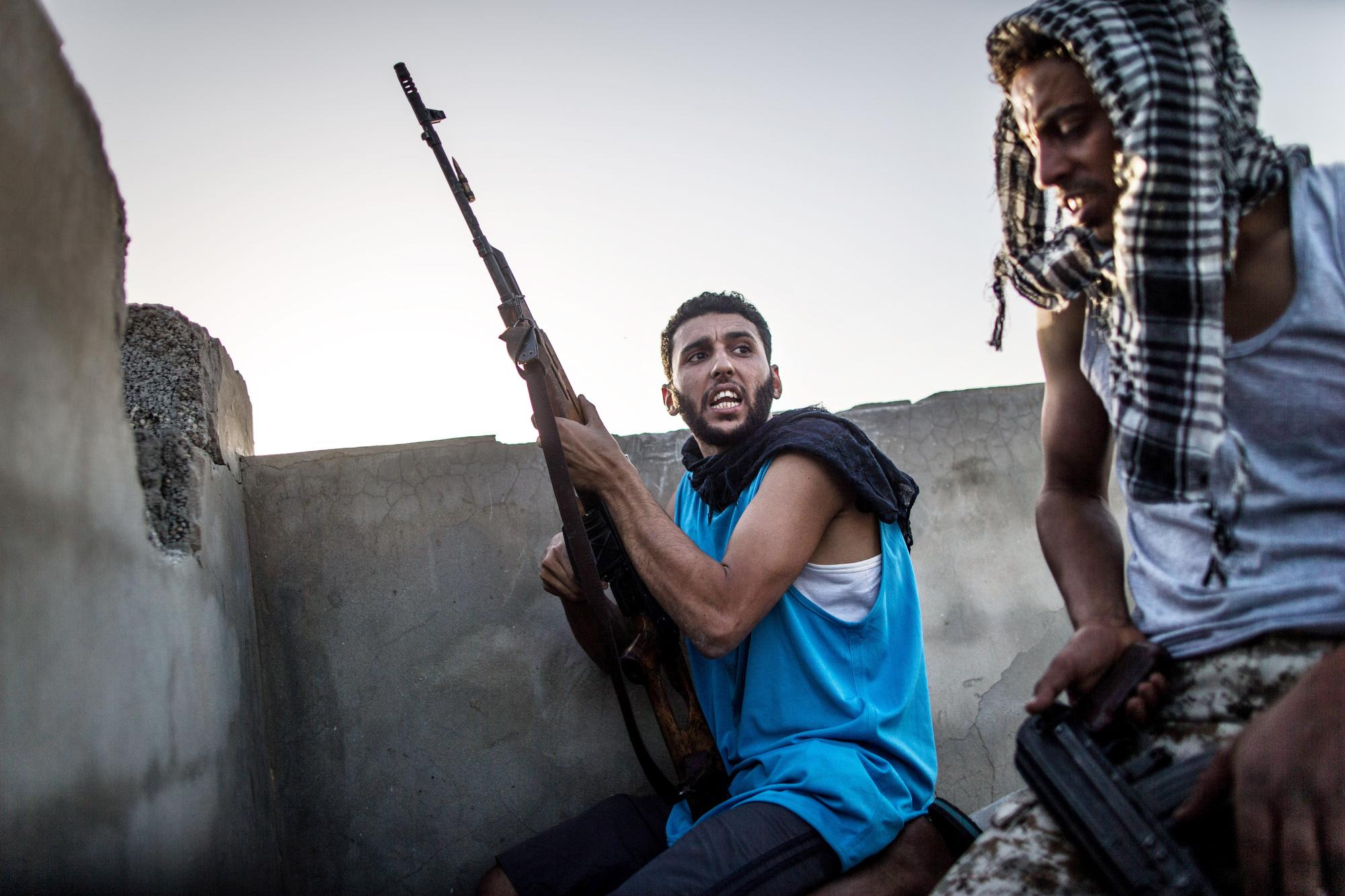 Soldats des forces du Gouvernement d'entente nationale (GNA), lors d'affrontements avec l'Armée nationale libyenne (ANL), le 9mai 2019.