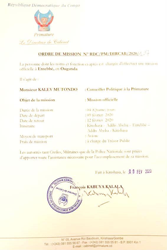 Ordre de mission délivré par la primature congolaise à Kalev Mutond.