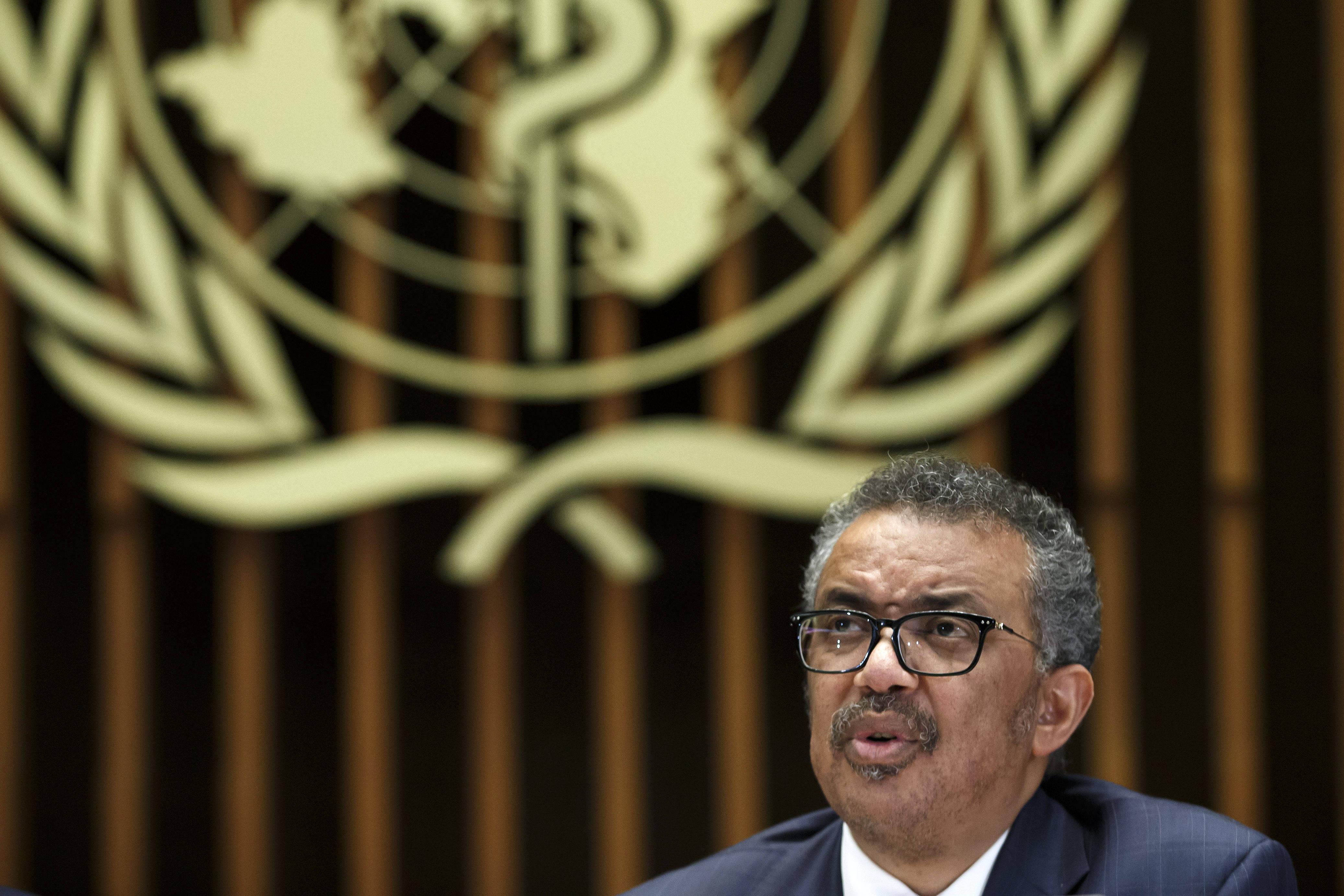 Le directeur de l'OMS, Tedros Adhanom Ghebreyesus, s'exprime sur le coronavirus, le 12 février 2020.