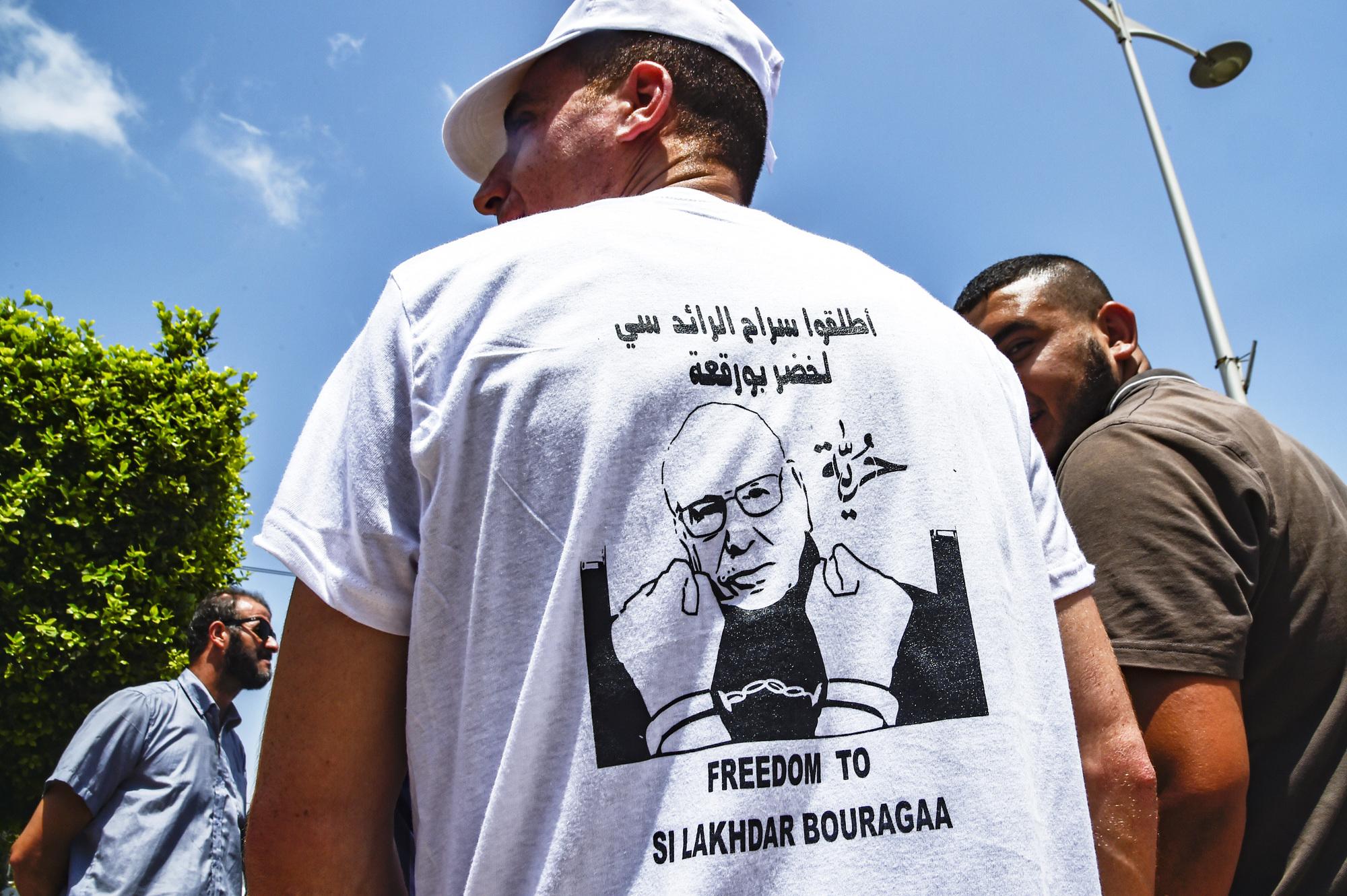 Des manifestants réclamant la libération de Bouregaa, le 10juillet 2019, dans la capitale.