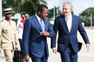 Visite du portautonome de Lomé avec le président togolais, FaureGnassingbé, le 12juillet 2017.