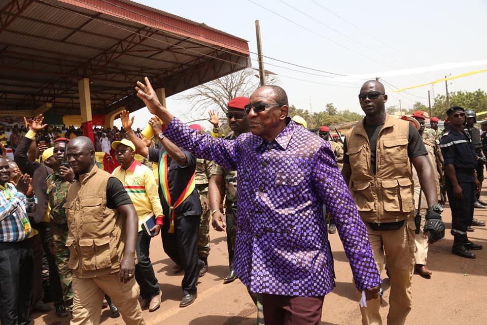 Alpha Condé, en campagne en Haute-Guinée, en vue du double scrutin du mois de mars 2020.