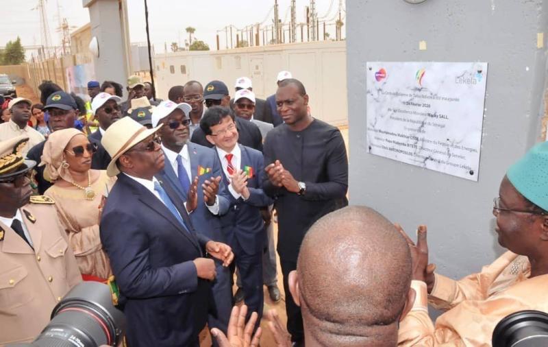 Inauguration de la centrale de Taiba N'Diaye par le président Macky Sall, à 90 km au nord de Dakar.