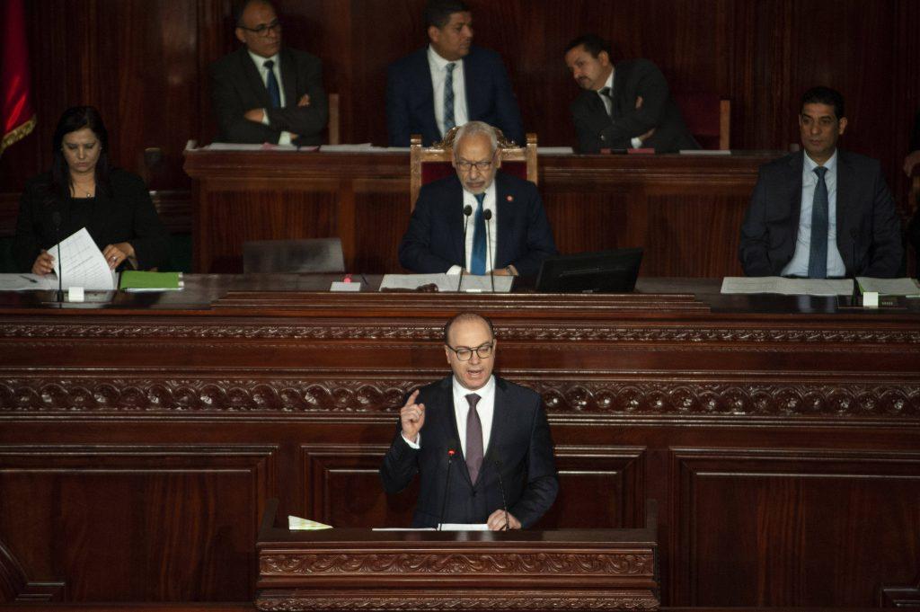 Elyes Fakhfakh, le chef du gouvernement tunisien, lors d'une conférence de presse le 24 janvier 2020.