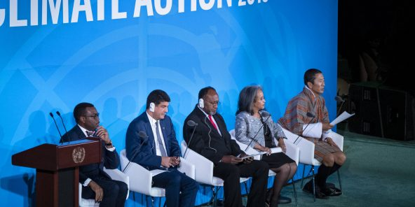 Bhutan Prime Minister Lotay Tshering speaks during the Climate Action Summit 2019 at the 74th session of the United Nations General Assembly, at U.N. headquarters, Monday, Sept. 23, 2019. From left are African Development Bank president Akinwumi Adesina, Masen President Mustapha Bakkoury, Malawi's President Arthur Peter Mutharika, Ethiopian President Sahle-Work Zewde, and Tshering. (AP Photo/Craig Ruttle)/UNCR145/19266781087436//1909240005