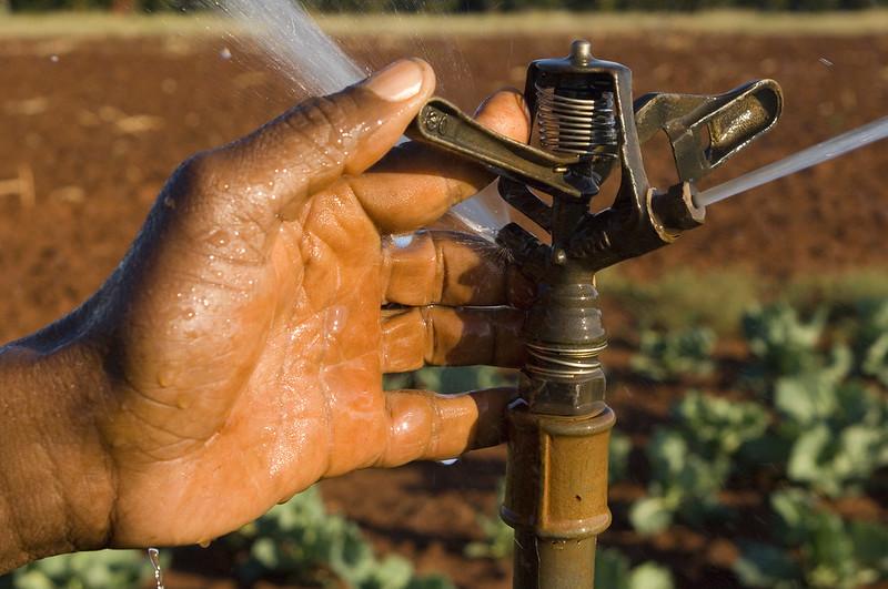Système d'irrigation. Avec des capteurs, certaines firmes collectent des données sur le volume d'eau épandu, et peuvent croiser les résultats avec les heures et fréquences d'arrosage ainsi que les résultats vus du ciel sur le champ.