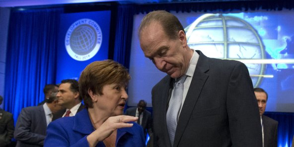 Kristalina Georgieva (g.), et David Malpass (dr.), à Washington, le 19 octobre 2019.