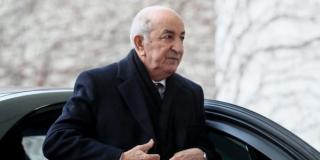 Le président Tebboune, le 19janvier, à Berlin, à son arrivée à la Conférence internationale sur la Libye.