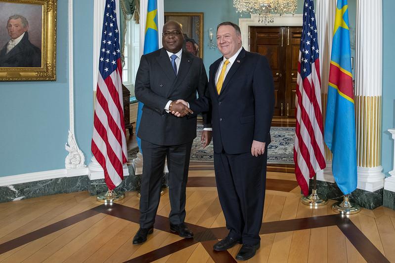 Le président congolais Félix Tshisekedi avec le secrétaire d'État américain, Mike Pompeo, le 3 mars 2020 à Washington.