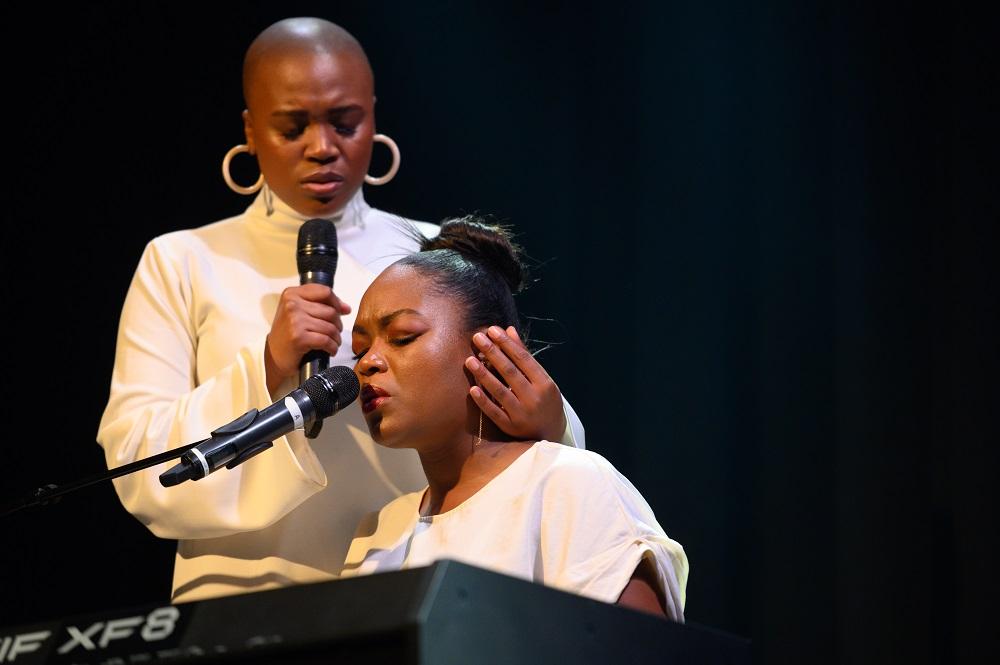Le duo féminin sud-africain Thesis ZA, lors du festival Show-Me, en 2018.