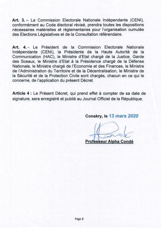 Décret du président guinéen fixant la nouvelle date du double scrutin. (1/2)