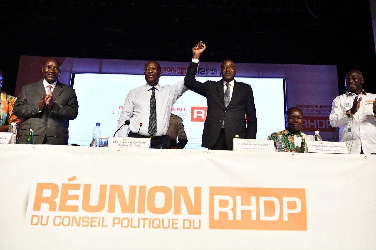 Alassane Ouattara et Amadou Gon Coulibaly, lors de l'annonce de la désignation du second comme candidat du RHDP, le 12 mars 2020.