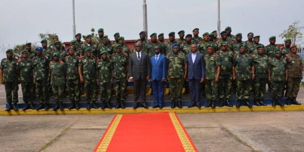 Félix Tshisekedi et les hauts cadres militaires, le premier janvier 2020 au ministère de la Défense.