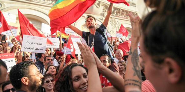 Manifestation en août 2018 alors qu'un projet de loi provenant des travaux de la Colibe était présenté à l'ARP.