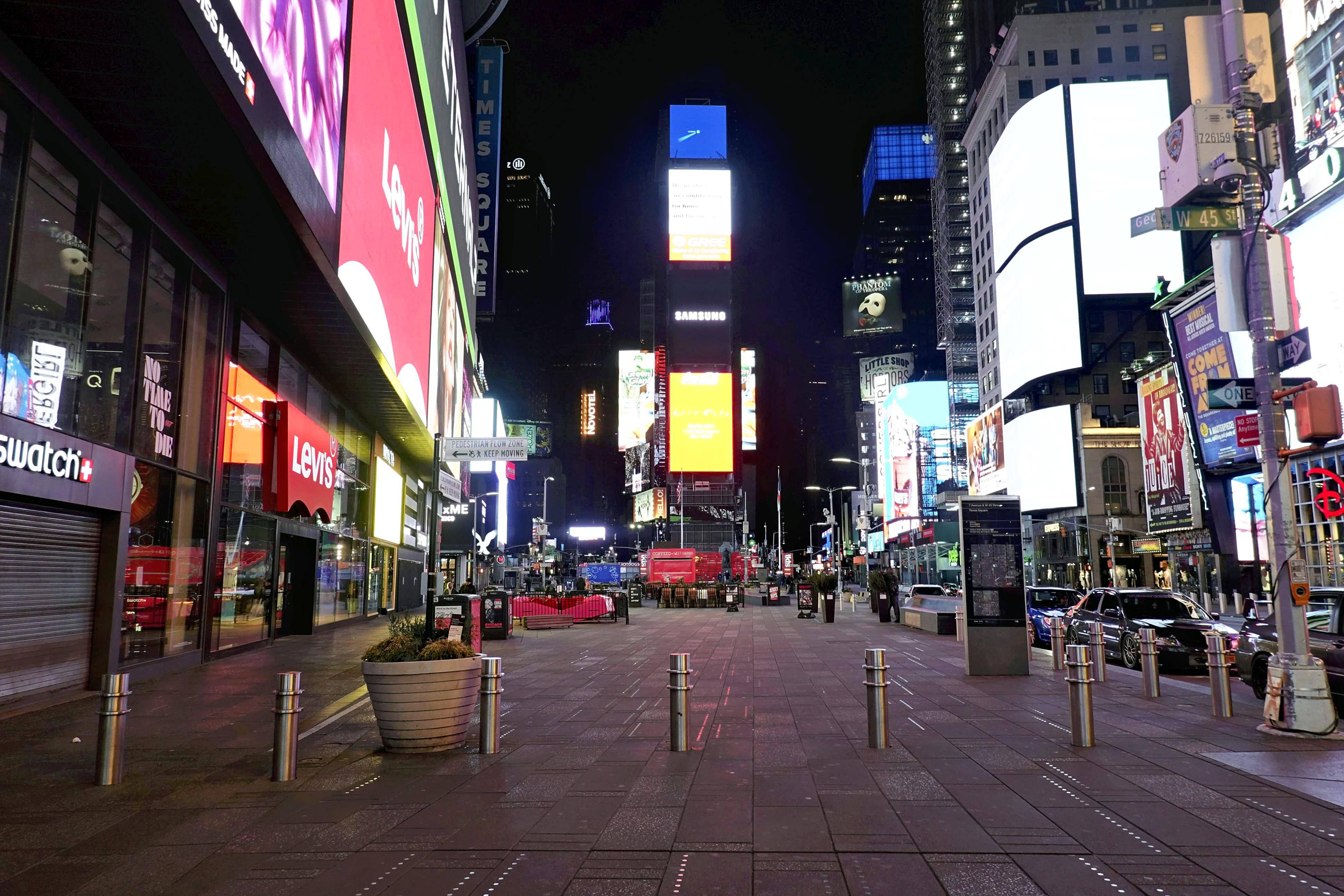Times Square (New York), à l'heure du coronavirus.