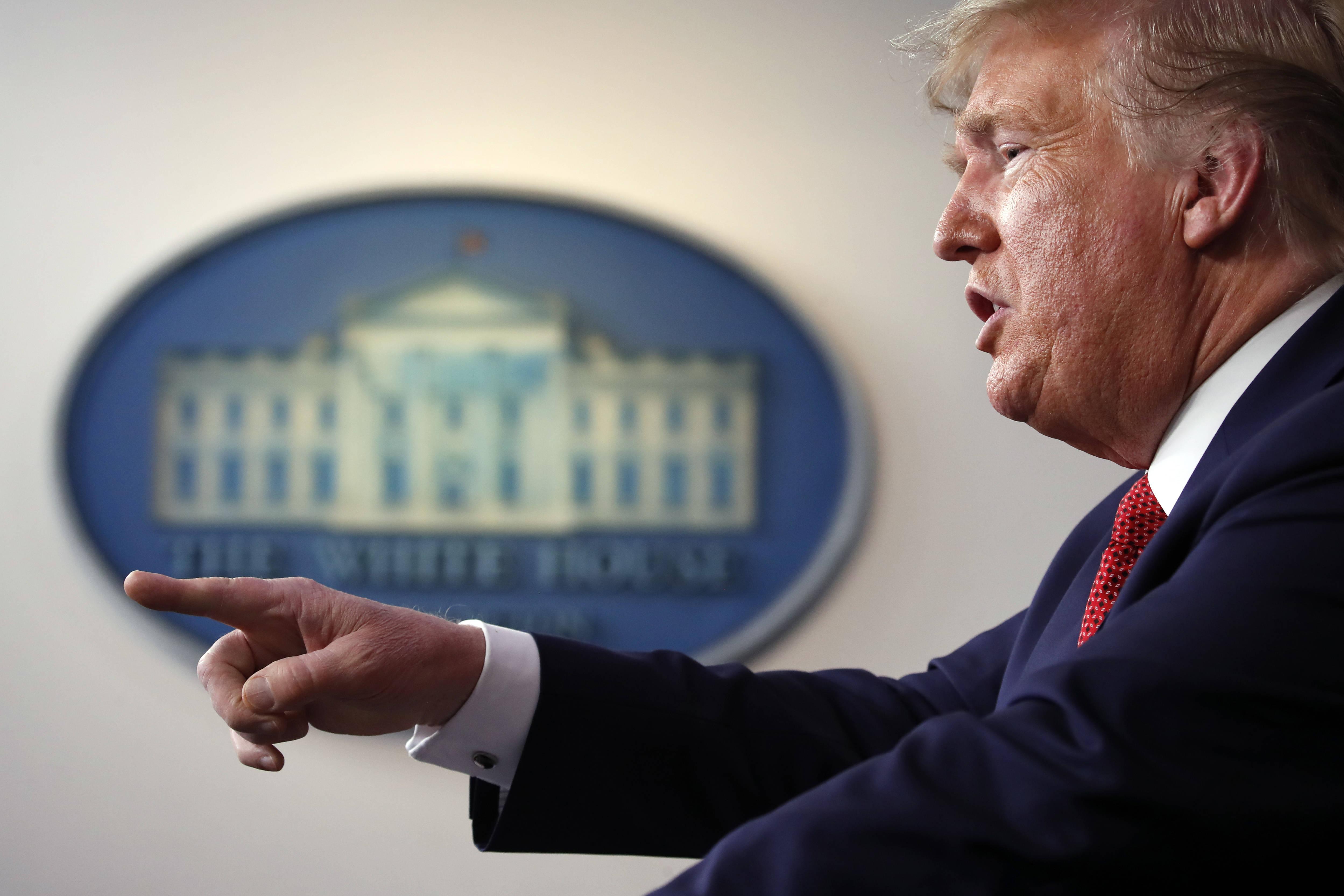 Donald Trump lors d'une conférence de presse sur le coronavirus à Washington, le 25 mars 2020.