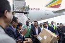 Le coordinateur national, Dr Shumete Gizaw, centre-droite, tend une boîte de fournitures médicales à la ministre de la Santé Lia Tadesse, à Addis-Abeba, le 22 mars 2020.
