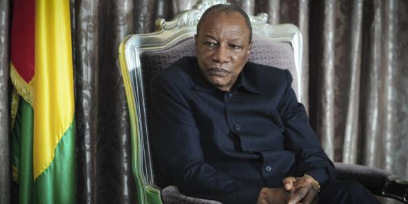 Alpha Condé, en 2016 au palais présidentiel, à Conakry.