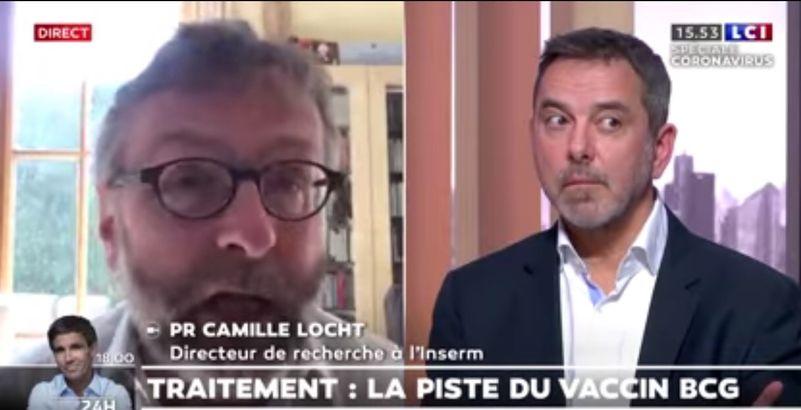 Camille Locht (g.) et Jean-Paul Mira (d.), invités par la chaîne française LCI le 1er avril 2020.
