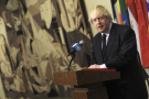 Le Premier ministre britannique Boris Johnson, le 5 avril 2020 au siège des Nations unies à New York.