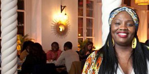 Sandrine Nzinda Kissina à la Villa Maasaï, à Paris.