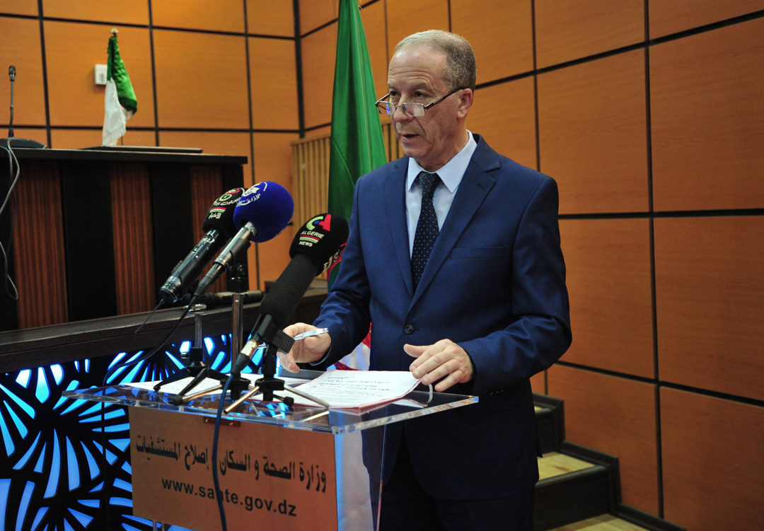 Djamel Fourar, lors de la conférence de presse quotidienne pour donner les statistiques du Covid-19 en Algérie, le 23 mars 2020.