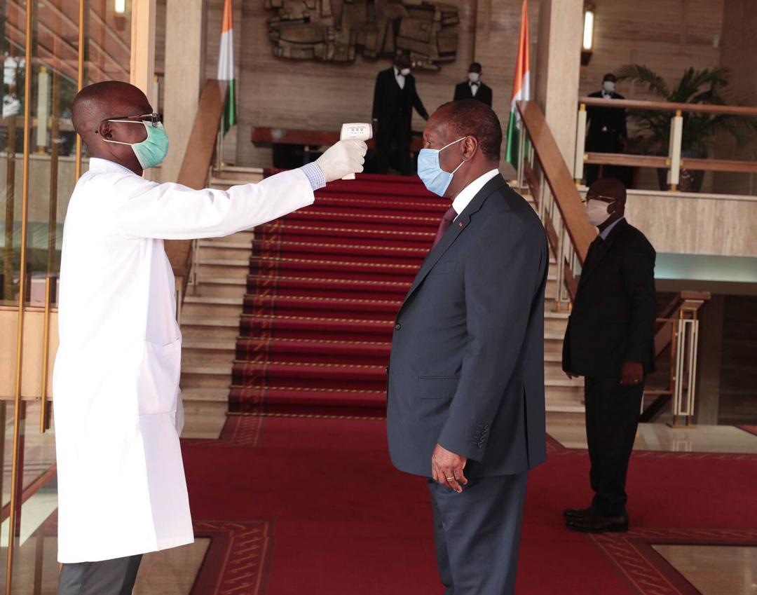 Le président ivoirien Alassane Dramane Ouattara, le 8 avril 2020.