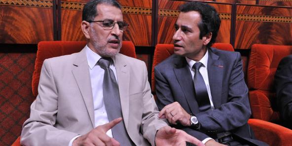Le chef du gouvernement marocain Saadeddine El Othmani et le ministre de l'Economie et des Finances, Mohamed Benchaâboun, le 22 octobre 2018.