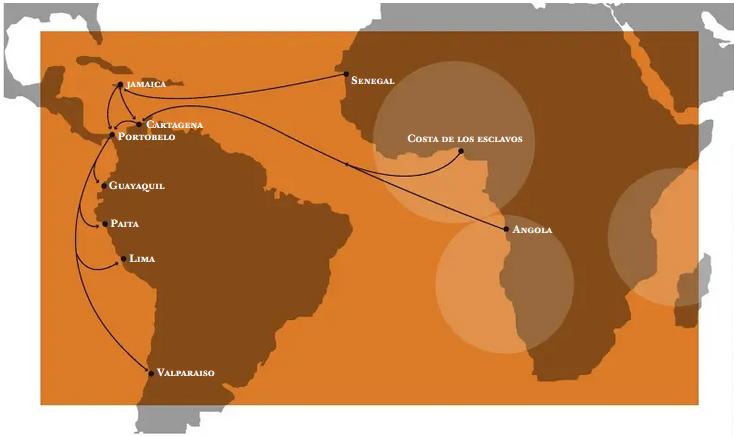 La carte des routes de l'esclavage.