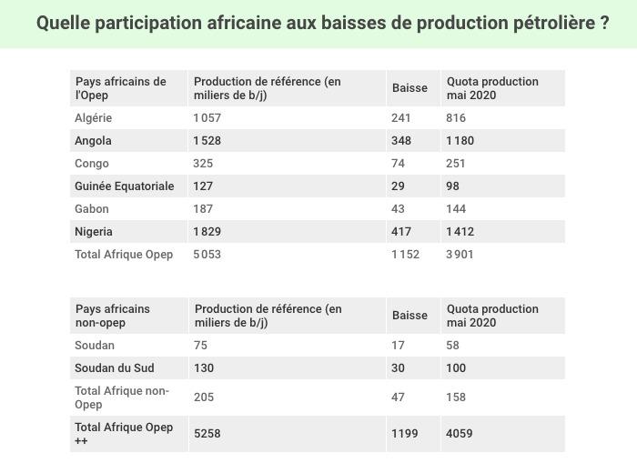 Quelle participation africaine aux baisses de production pétrolière