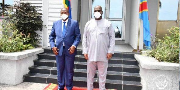 Faustin-Archange Touadéra a rencontré Félix Tshisekedi en avril 2020, à Kinshasa.