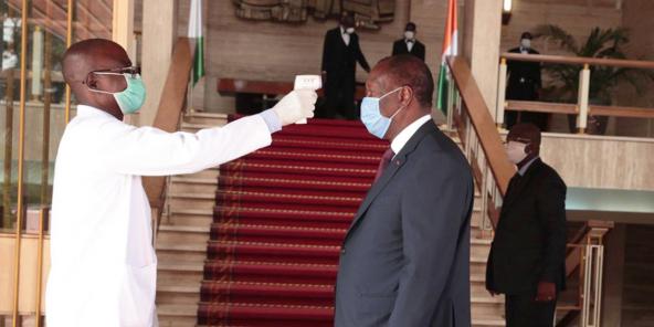 Le président ivoirien Alassane Dramane Ouattara, le 8 avril 2020.© LONACI