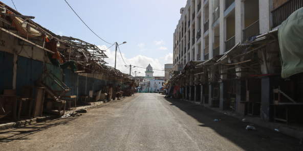 Commerces fermés à Djibouti, pendant l'épidémie de Covid-19, en mars 2020.